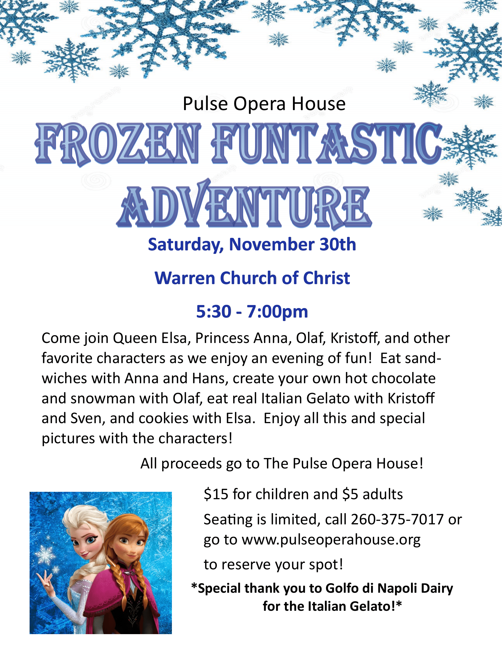 Frozen Funtastic Adventure - Pulse Fund Raiser @ Warren Church of Christ